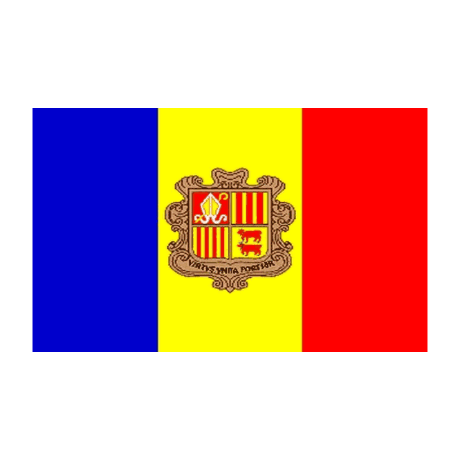 Andorra (Crest) 5x3 Feet Polyester Flag with Eyelets - 150cm x 90cm