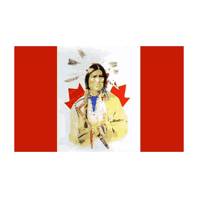 Canada/Indian 5x3 Feet Polyester Flag with Eyelets - 150cm x 90cm