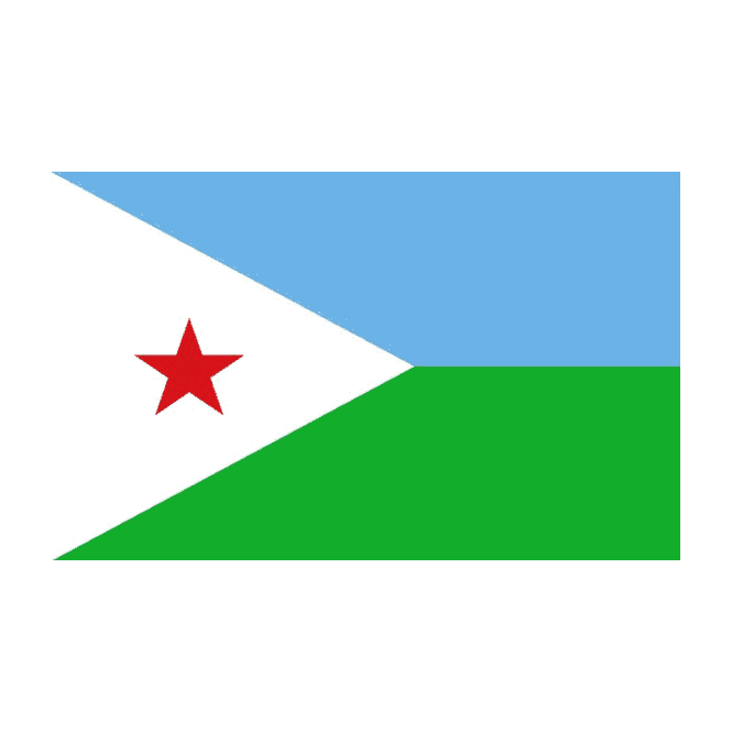 Djibouti 5x3 Feet Polyester Flag with Eyelets - 150cm x 90cm