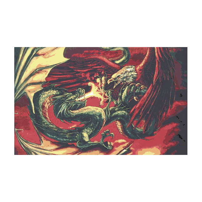 Dragon Vs Eagle 5x3 Feet Polyester Flag with Eyelets - 150cm x 90cm