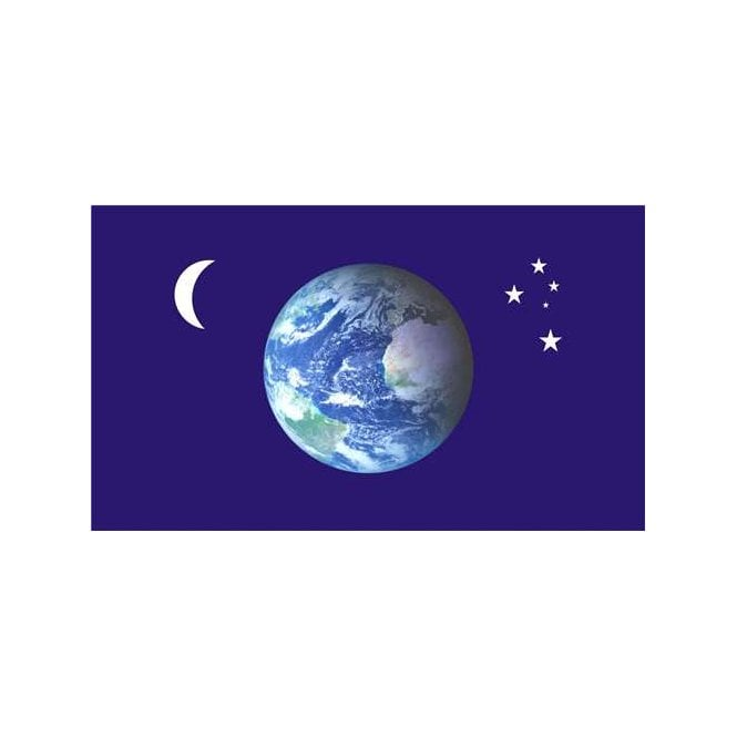 Planet Moon Stars 5x3 Feet Polyester Flag with Eyelets - 150cm x 90cm