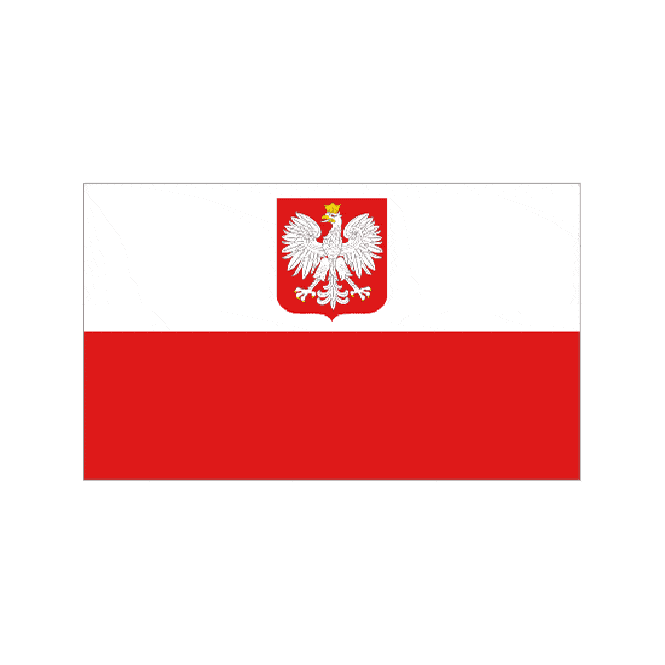 Poland With Crest 8x5 Feet Polyester Flag with Eyelets - 250cm x 150cm