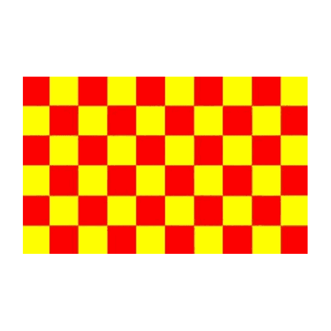 Chequered Red/Yellow 5x3 Feet Polyester Flag with Eyelets - 150cm x 90cm