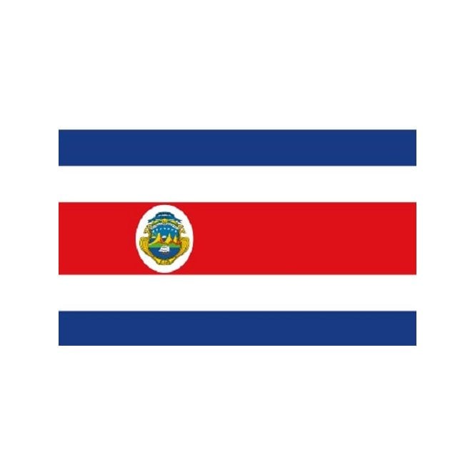 Costa Rica Crest 3x2 Feet Polyester Flag with Eyelets - 90cm x 60cm