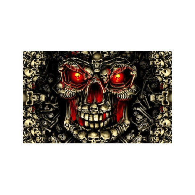 Deadly Skulls 5x3 Feet Polyester Flag with Eyelets - 150cm x 90cm