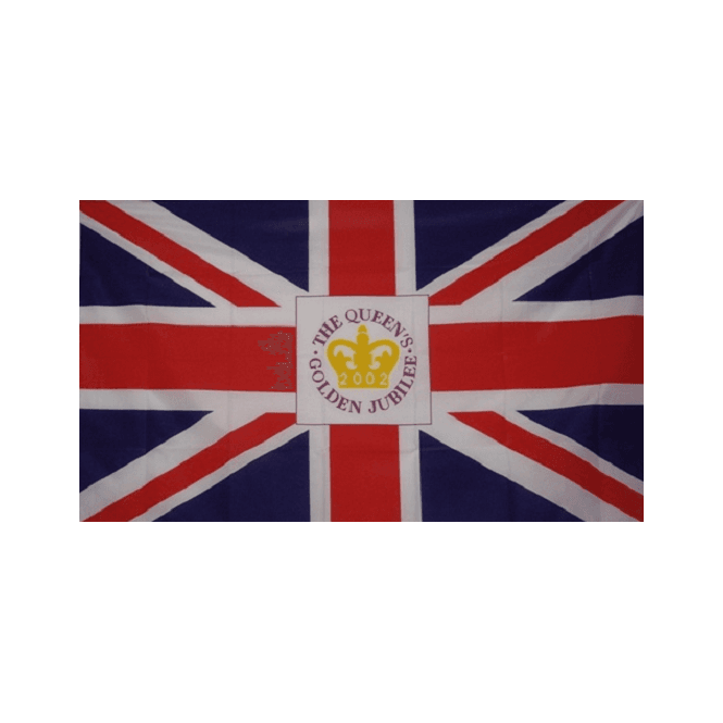 Golden Jubilee Crest Union Jack (2002) 5x3 Feet Polyester Flag with Eyelets - 150cm x 90cm