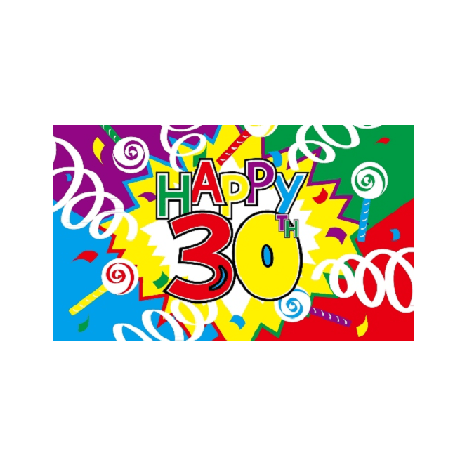 Happy 30th Birthday 5x3 Feet Polyester Flag with Eyelets - 150cm x 90cm