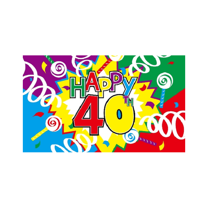 Happy 40th Birthday 5x3 Feet Polyester Flag with Eyelets - 150cm x 90cm