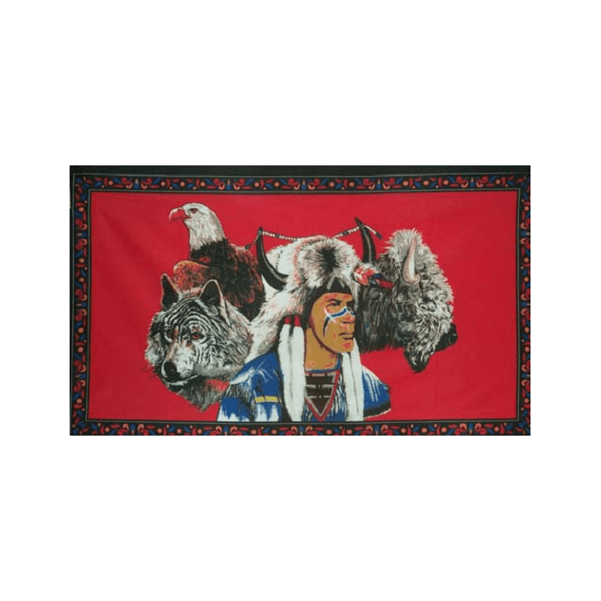 Indian With Wolf & Eagle 5x3 Feet Polyester Flag with Eyelets - 150cm x 90cm