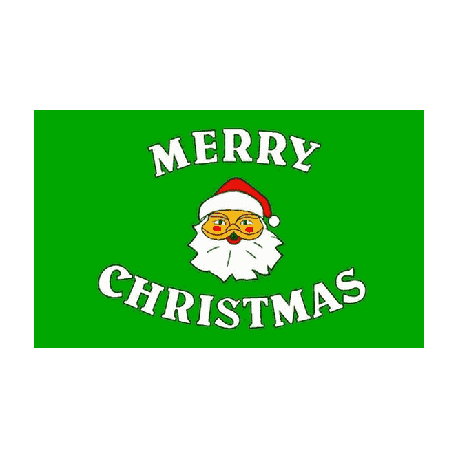 Merry Christmas Green 5x3 Feet Polyester Flag with Eyelets - 150cm x 90cm