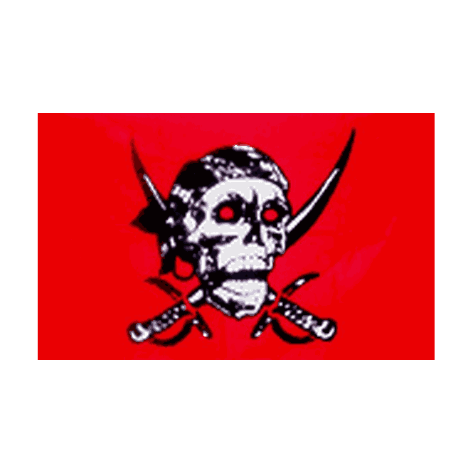 Red Skull/Cross Sabres 5x3 Feet Polyester Flag with Eyelets - 150cm x 90cm