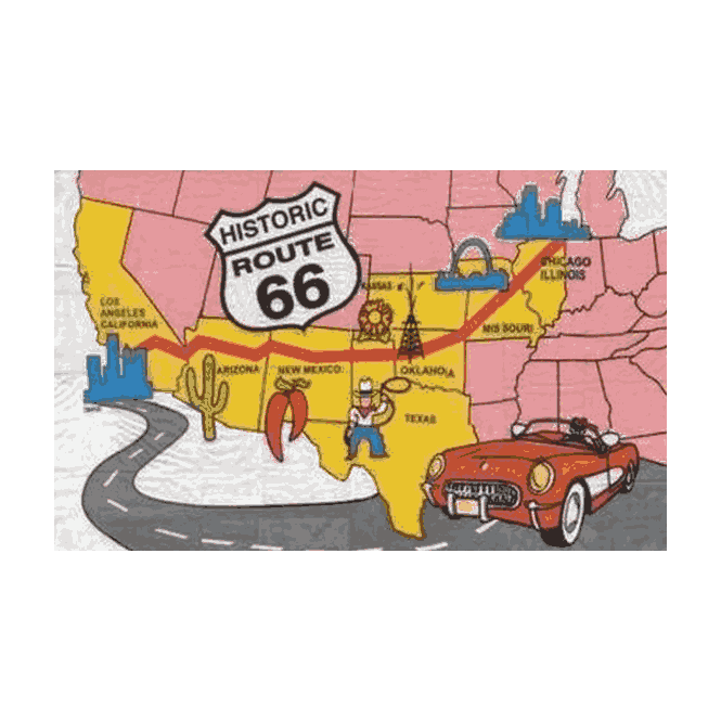 Route 66 5x3 Feet Polyester Flag with Eyelets - 150cm x 90cm