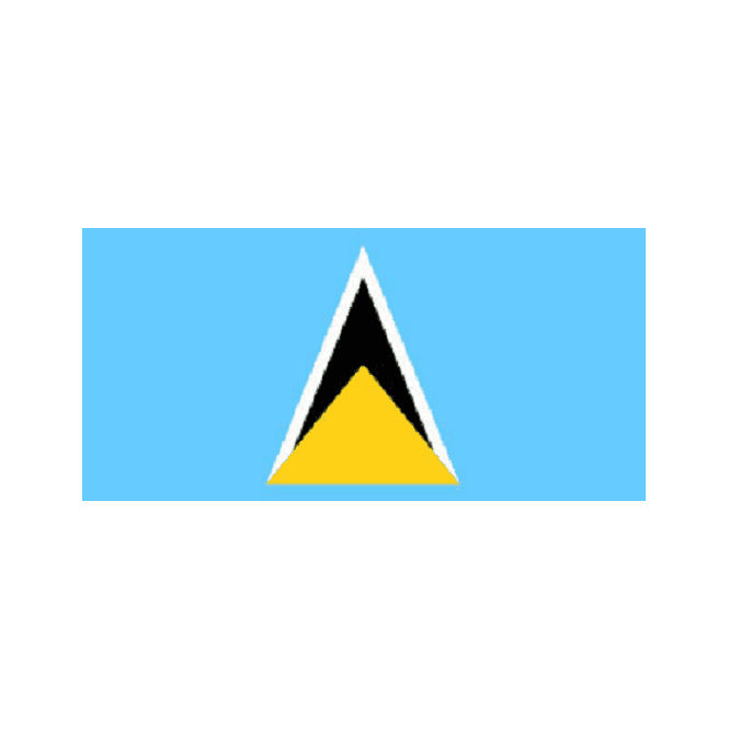 St Lucia New 6 x 4 Inch Polyester Hand Flag - 15cm x 10cm