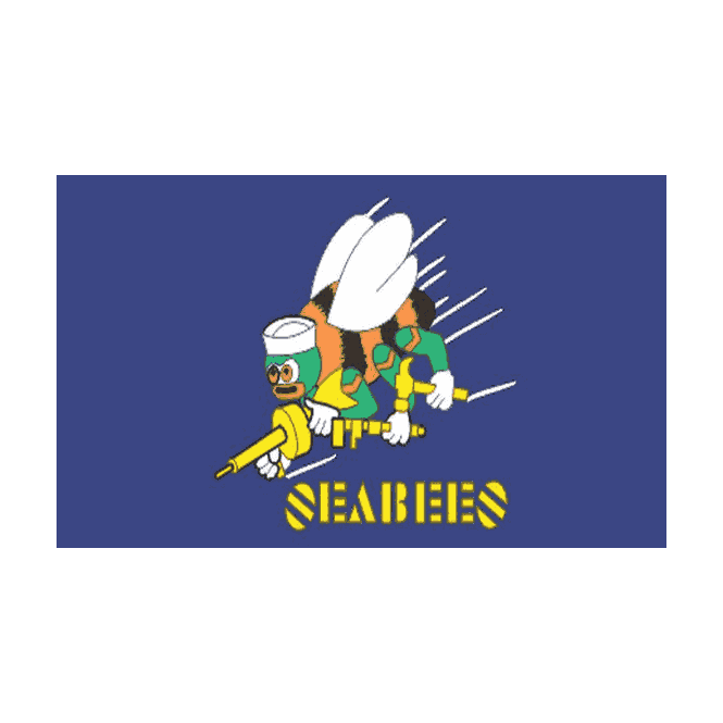 Seabees (Navy) 5x3 Feet Polyester Flag with Eyelets - 150cm x 90cm