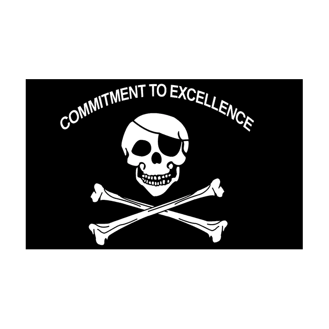 Skull Commit To Excellence 5x3 Feet Polyester Flag with Eyelets - 150cm x 90cm