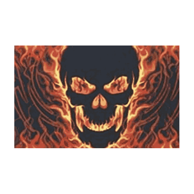 Skull With Fire 5x3 Feet Polyester Flag with Eyelets - 150cm x 90cm