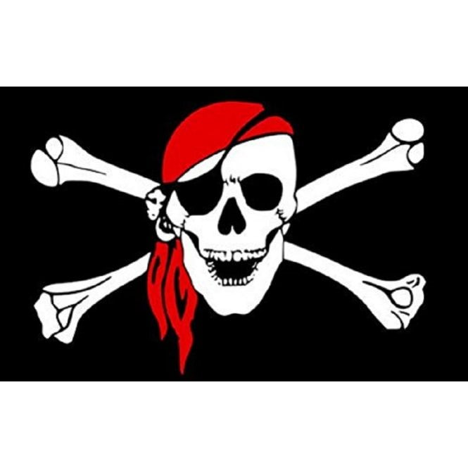Skull with Scarf 5x3 Feet Polyester Flag with Eyelets - 150cm x 90cm