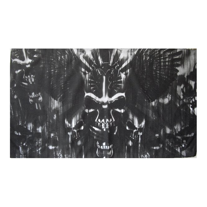 Skull with Sword 5x3 Feet Polyester Flag with Eyelets - 150cm x 90cm