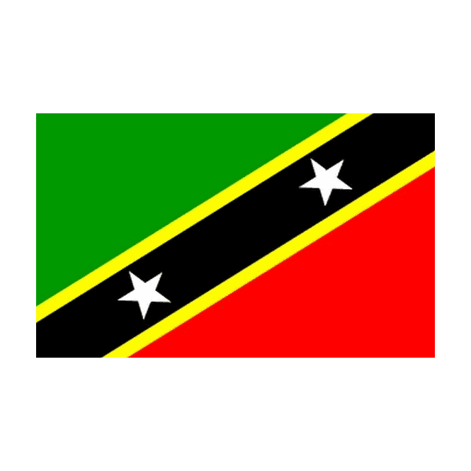 St Christopher And Nevis St Kitts 6 x 4 Inch Polyester Hand Flag - 15cm x 10cm