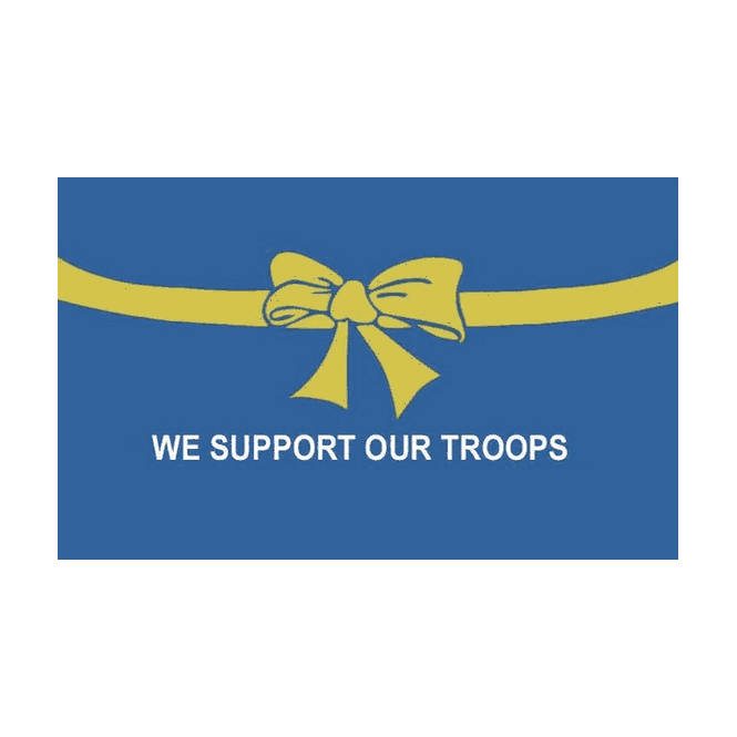 Support Our Troop - Blue Background 5x3 Feet Polyester Flag with Eyelets - 150cm x 90cm