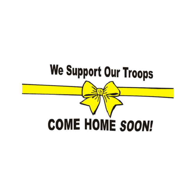 Support Our Troop - White Background 5x3 Feet Polyester Flag with Eyelets - 150cm x 90cm