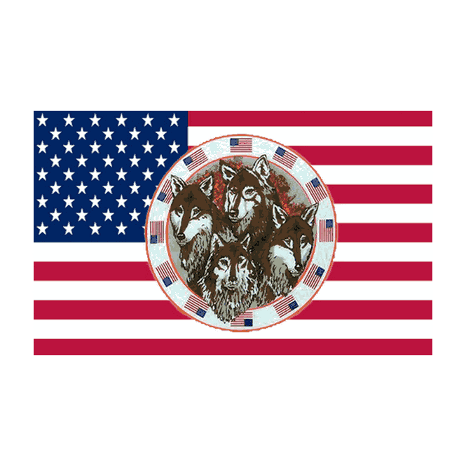 USA/4 Wolves 5x3 Feet Polyester Flag with Eyelets - 150cm x 90cm