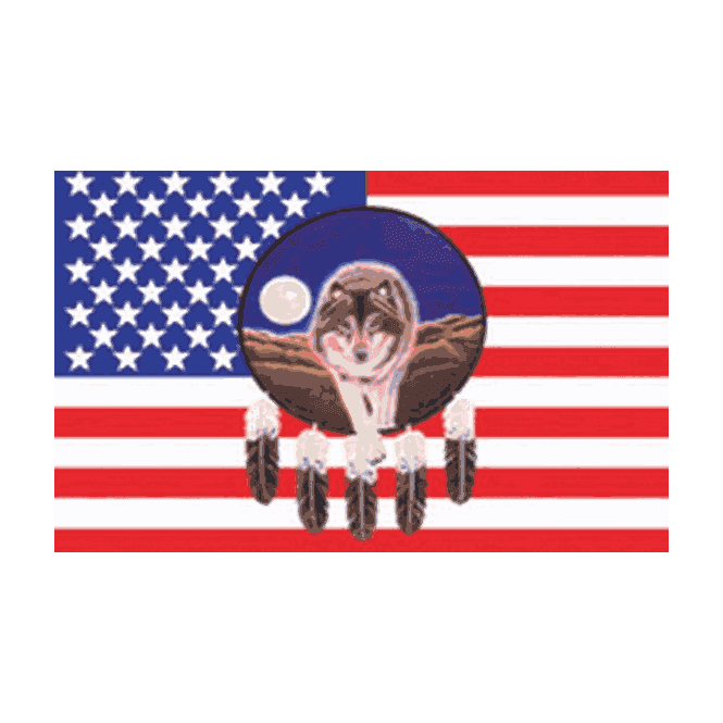 USA/Feather & Wolf 5x3 Feet Polyester Flag with Eyelets - 150cm x 90cm