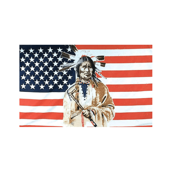 USA/Indian 5x3 Feet Polyester Flag with Eyelets - 150cm x 90cm