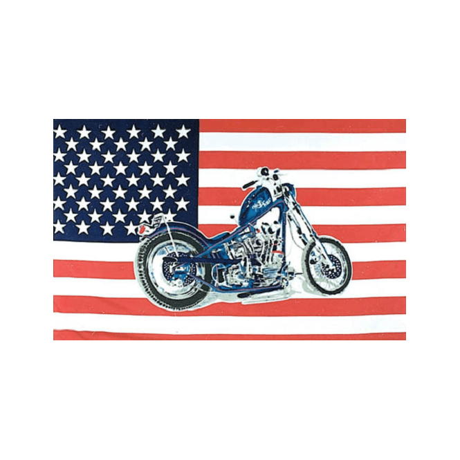 USA/Motorcycle 5x3 Feet Polyester Flag with Eyelets - 150cm x 90cm