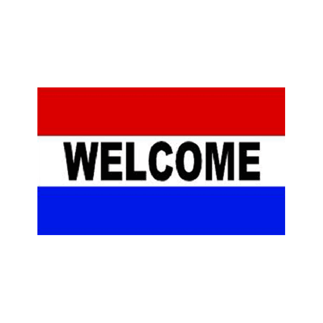 Welcome 5x3 Feet Polyester Flag with Eyelets - 150cm x 90cm