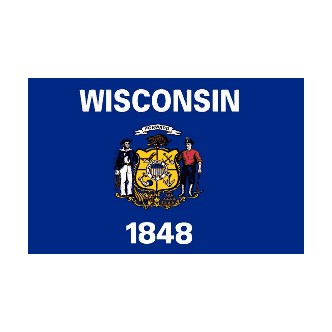 Wisconsin 5x3 Feet Polyester Flag with Eyelets - 150cm x 90cm