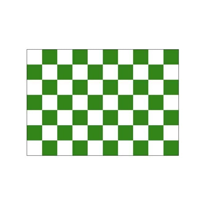 Chequered Green White 3x2 Feet Polyester Flag with Eyelets - 90cm x 60cm