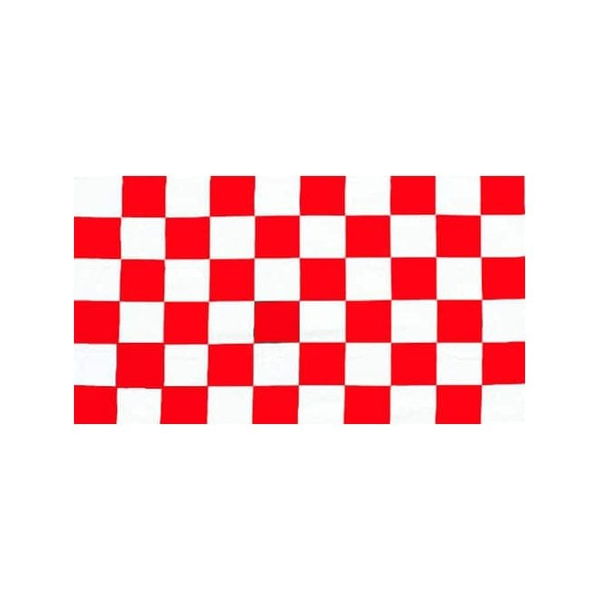 Chequered Red White 5x3 Feet Polyester Flag with Eyelets - 150cm x 90cm