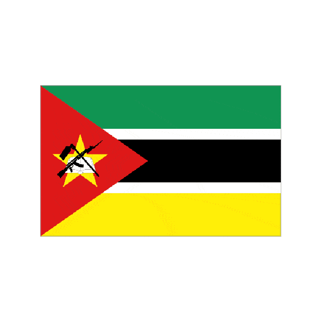 Mozambique 6 x 4 Inch Polyester Hand Flag - 15cm x 10cm