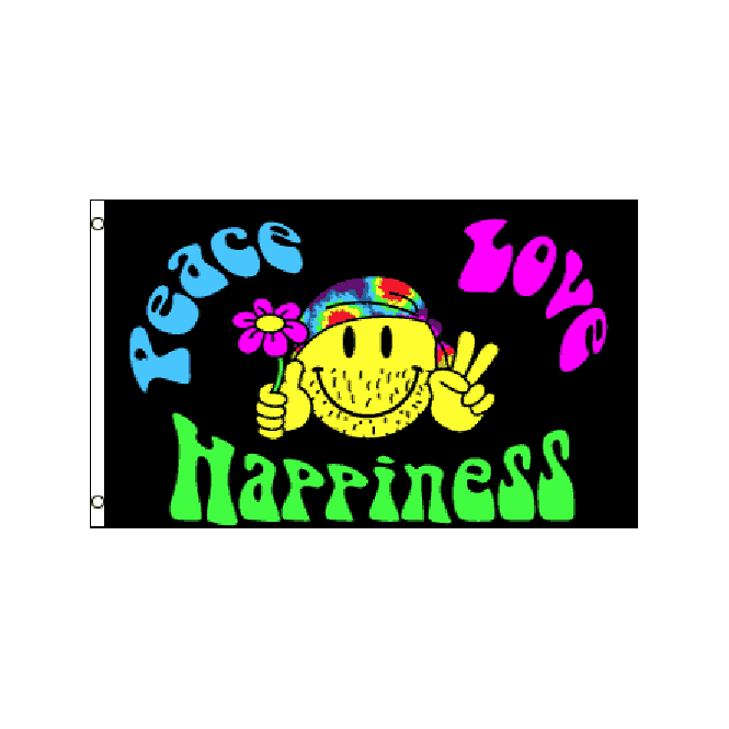 Peace Love Happiness 5x3 Feet Polyester Flag with Eyelets - 150cm x 90cm