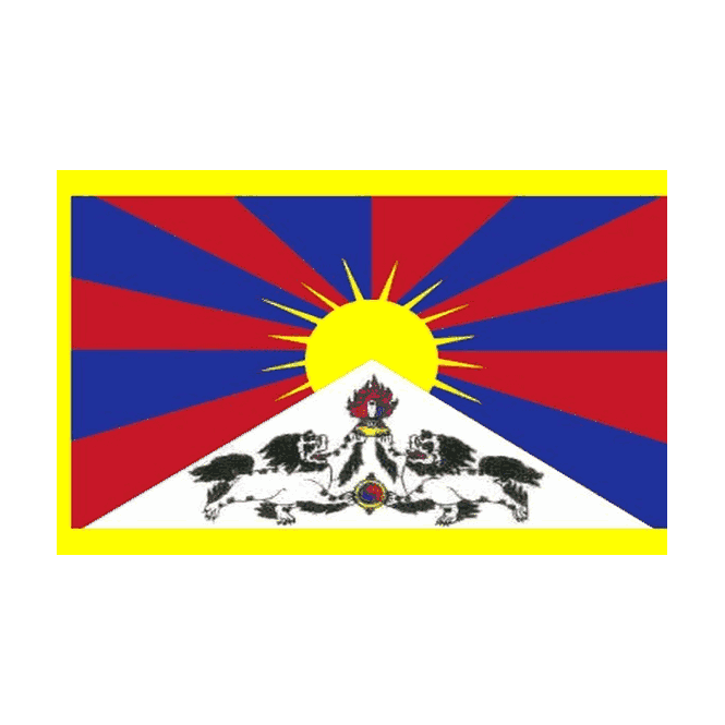 Tibet 6 x 4 Inch Polyester Hand Flag - 15cm x 10cm