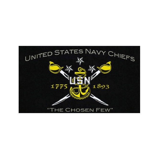US Navy Chiefs 5x3 Feet Polyester Flag with Eyelets - 150cm x 90cm