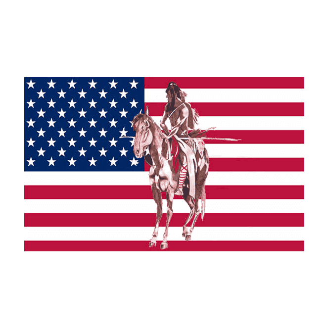 USA/Indian & Horse 5x3 Feet Polyester Flag with Eyelets - 150cm x 90cm