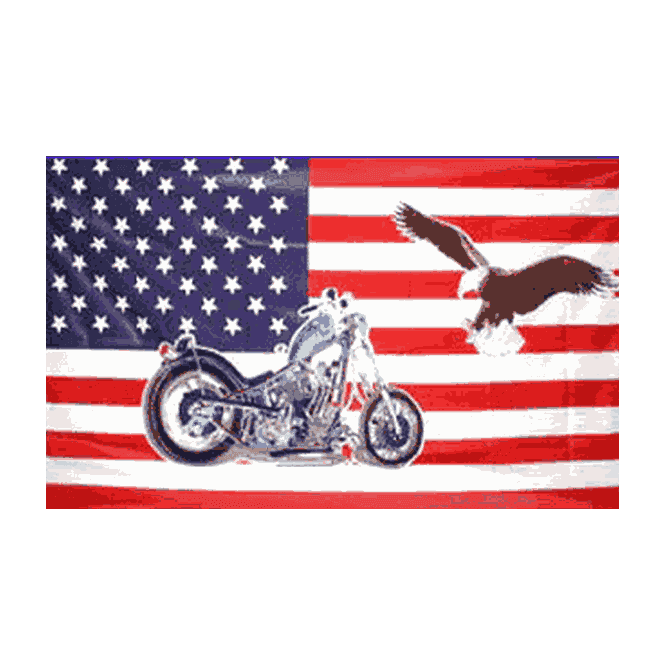 USA/Motorcycle & Eagle 5x3 Feet Polyester Flag with Eyelets - 150cm x 90cm